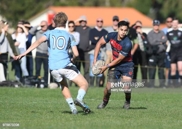 Shamara Brooks of Hastings Boys High School looks to pass during the Schools Super 8 match between Hastings Boys High and Napier Boys High at...