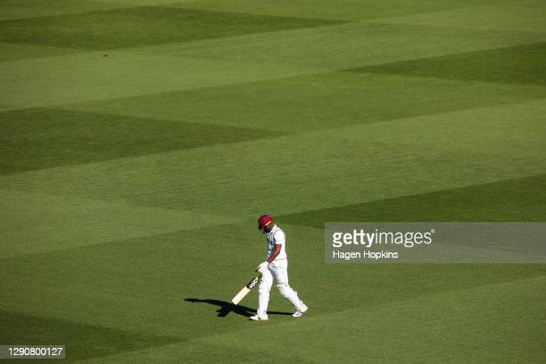 Shamarh Brooks of West Indies leaves the field after being dismissed during day two of the second test match in the series between New Zealand and...