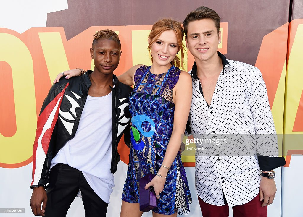 Shamari Maurice, actors Bella Thorne and Garrett Backstrom attend The 2015 MTV Movie Awards at Nokia Theatre L.A. Live on April 12, 2015 in Los Angeles, California.