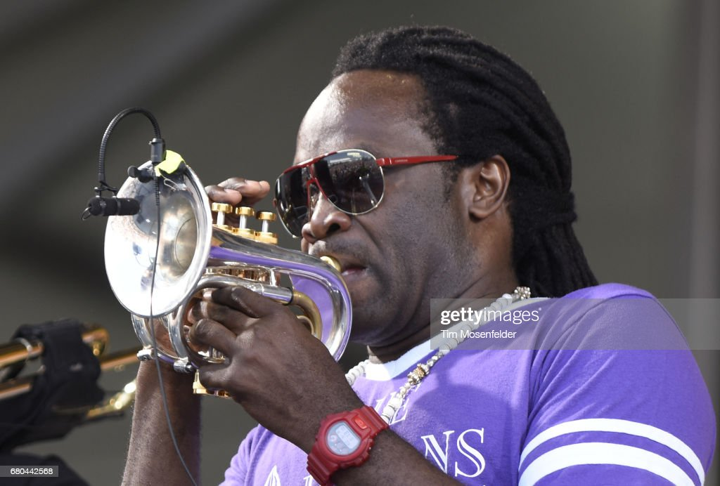 Shamarr Allen of Galactic performs during the 2017 New Orleans Jazz & Heritage Festival at Fair Grounds Race Course on May 7, 2017 in New Orleans, Louisiana.