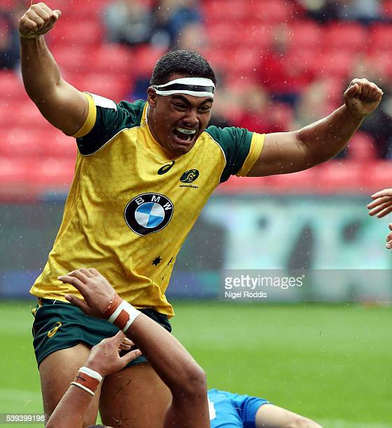 Shambeckler Vui of Australia celebrates scoring a try during the World Rugby U20 Championship match between Australia and Italy at AJ Bell Stadium on...