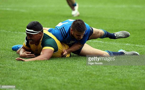 Shambeckler Vui of Australia scores a try during the World Rugby U20 Championship match between Australia and Italy at AJ Bell Stadium on June 11...