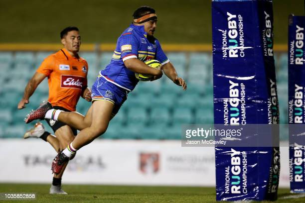 Shambeckler Vui of the Rays scores a try during the round one NRC match between the Sydney Rays and NSW Country Eagles at Leichhardt Oval on...
