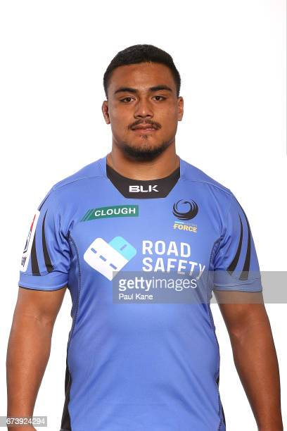 Shambeckler Vui poses during a Western Force Super Rugby headshots session at the Rugby WA office on April 27 2017 in Perth Australia