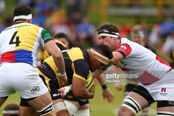 Shambeckler Vui runs the ball during the round eight NRC match between Perth and the Sydney Rays at McGilvray Oval on October 21 2017 in Perth...