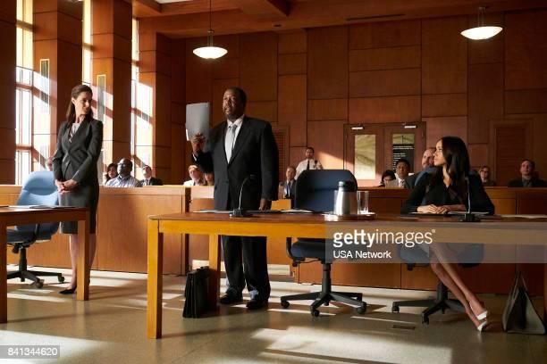 SUITS 'Shame' Episode 709 Pictured Wendell Pierce as Robert Zane Meghan Markle as Rachel Zane