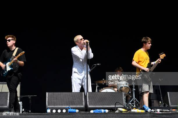 Shame perform on stage at All Points East in Victoria Park on June 3 2018 in London England
