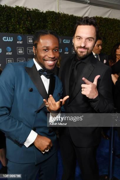 Shameik Moore and Jake Johnson attend the 24th annual Critics' Choice Awards at Barker Hangar on January 13 2019 in Santa Monica California