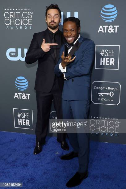 Shameik Moore and Jake Johnson attends The 24th Annual Critics' Choice Awards at Barker Hangar on January 13 2019 in Santa Monica California