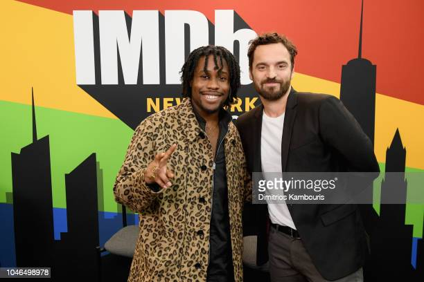 Shameik Moore and Jake Johnson of 'SpiderMan Into The Spiderverse' attend IMDb at New York Comic Con Day 2 at Javits Center on October 6 2018 in New...