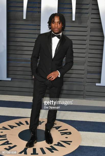 Shameik Moore attends the 2018 Vanity Fair Oscar Party hosted by Radhika Jones at Wallis Annenberg Center for the Performing Arts on March 4 2018 in...