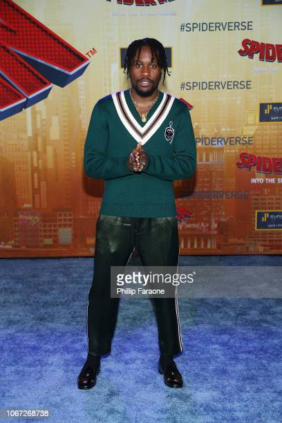 Shameik Moore attends the world premiere of Sony Pictures Animation and Marvel's SpiderMan Into The SpiderVerse at Regency Village Theatre on...