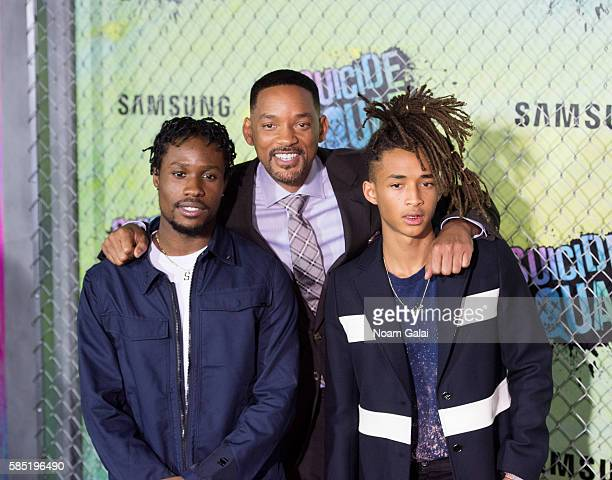 Shameik Moore Will Smith and Jaden Smith attend the world premiere of Suicide Squad at The Beacon Theatre on August 1 2016 in New York City