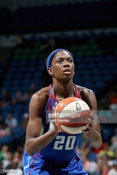 Shameka Christon of the New York Liberty shoots a free throw during the WNBA game against the Minnesota Lynx on June 1 2007 at Target Center in...