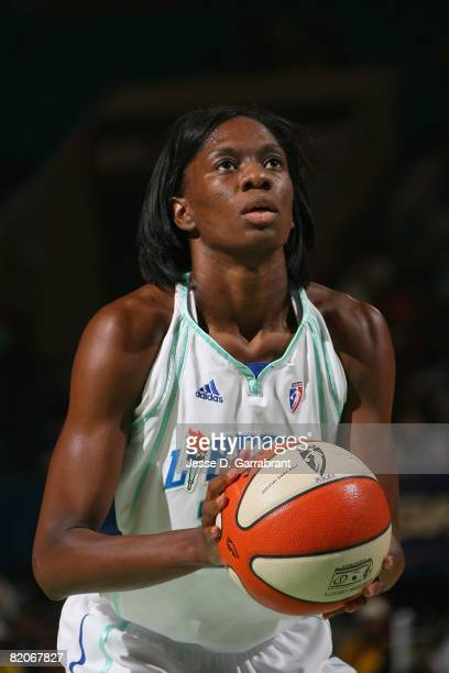 Shameka Christon of the New York Liberty shoots a free throw during the game against the Washington Mystics on July 17 2008 at Madison Square Garden...