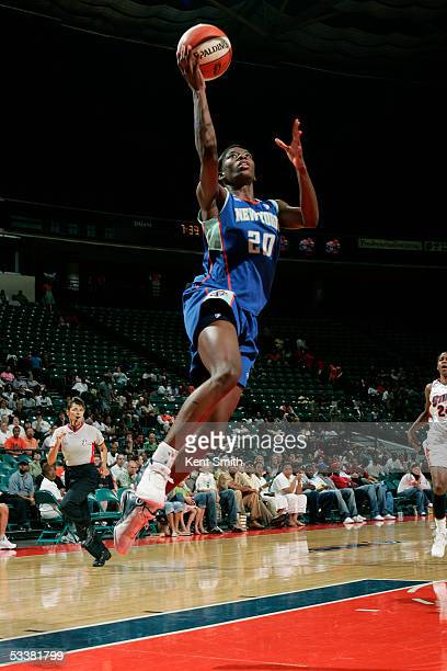 Shameka Christon of the New York Liberty shoots against the Charlotte Sting during the game on August 12 2005 at the Charlotte Coliseum in Charlotte...
