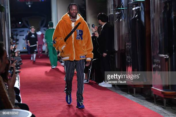 Shamel Kendrick walks the runway at the Dolce Gabbana Unexpected Show show during Milan Men's Fashion Week Fall/Winter 2018/19 on January 13 2018 in...