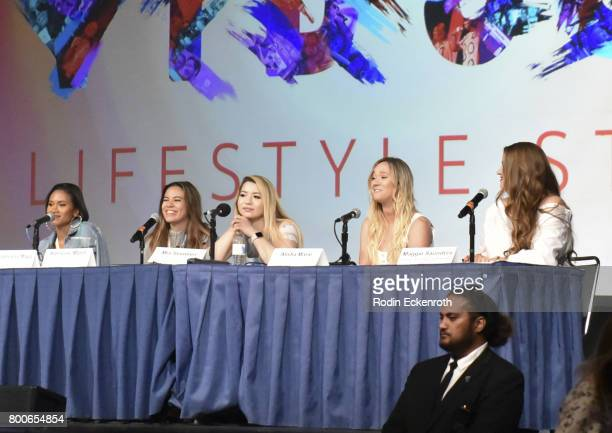 Shameless Maya Adelaine Morin Mia Stammer Alisha Marie and Maggie Saunders speak onstage at 2017 VidCon at Anaheim Convention Center on June 24 2017...