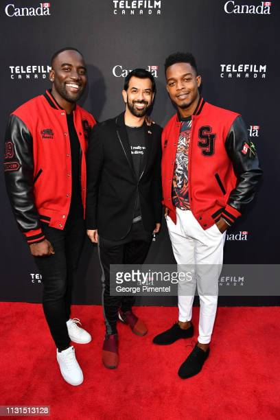 Shamier Anderson Consul General Of Canada Mr Zaib Shaikh and Stephan James attend the Canada's Oscar Salute Celebration Hosted By Consul General Of...