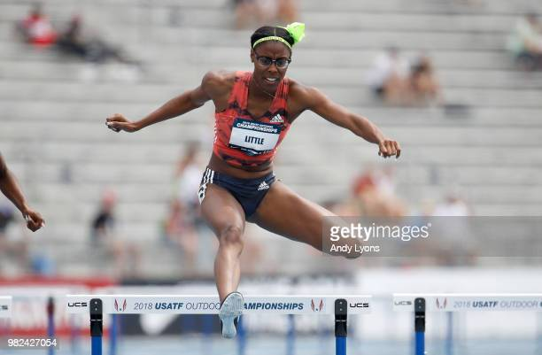 Shamier Little clears a hurdle in the semifinals of the Womens 400 Meter Hurdles during day 3 of the 2018 USATF Outdoor Championships at Drake...