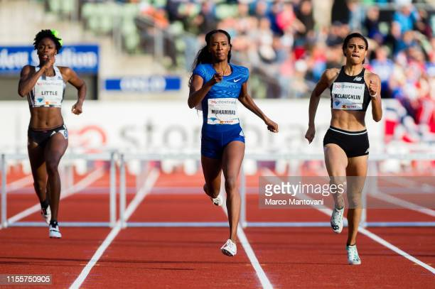 Shamier Little Dalilah Muhammad and Sydney McLaughlin compete in women's 400m Hurdles at Bislett Stadium during a Diamond League event during a...