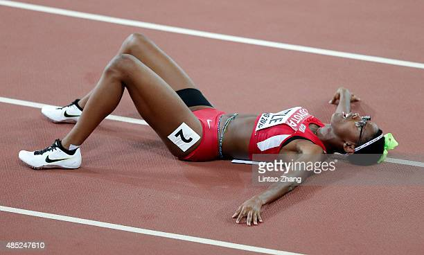 Shamier Little of the United States reacts after winning silver in the Women's 400 metres hurdles final during day five of the 15th IAAF World...