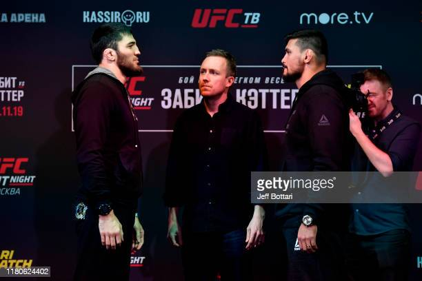 Shamil Gamzatov and Klidson Abreu of Brazil face off during UFC Fight Night Ultimate Media Day at Arbat Hall on November 7 2019 in Moscow Russia