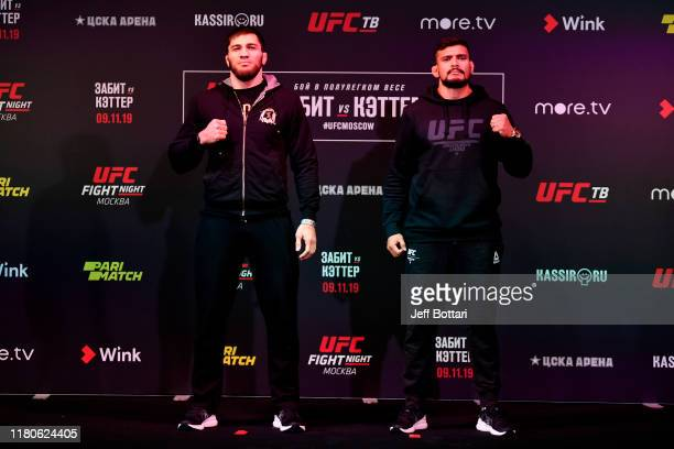 Shamil Gamzatov and Klidson Abreu of Brazil pose during UFC Fight Night Ultimate Media Day at Arbat Hall on November 7 2019 in Moscow Russia