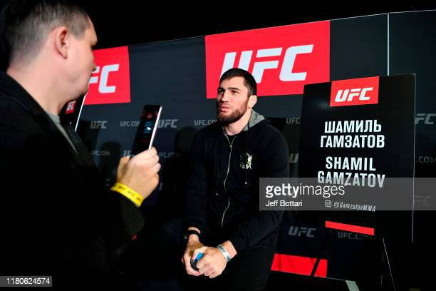 Shamil Gamzatov interacts with media during UFC Fight Night Ultimate Media Day at Arbat Hall on November 7 2019 in Moscow Russia