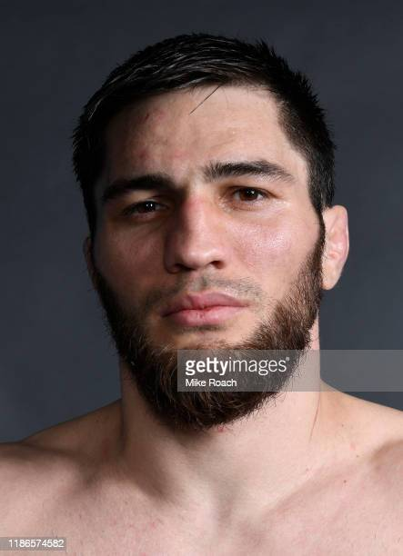 Shamil Gamzatov of Russia poses for a portrait backstage after his victory during the UFC Fight Night event at CSKA Arena on November 09 2019 in...