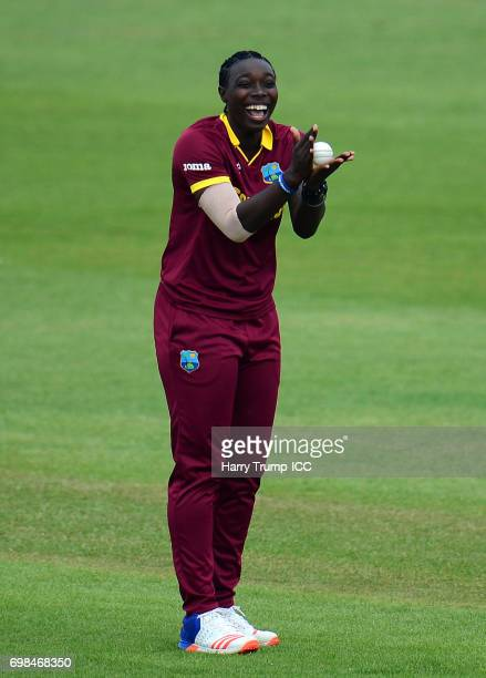 Shamilia Connell of West Indies Women celebrates after taking a catch to dismiss Nahida Khan of Pakistan during the ICC Women's World Cup Warm Up...