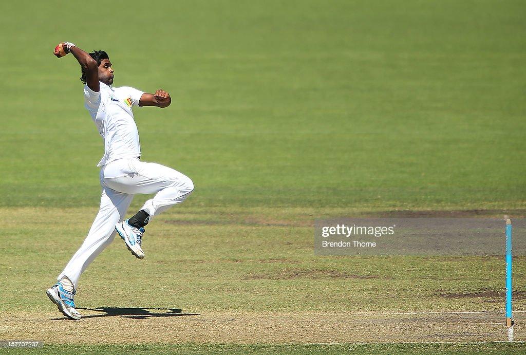 Shaminda Eranga of Sri Lanka bowls during day one of the international tour match between the Chairman's XI and Sri Lanka at Manuka Oval on December 6, 2012 in Canberra, Australia.