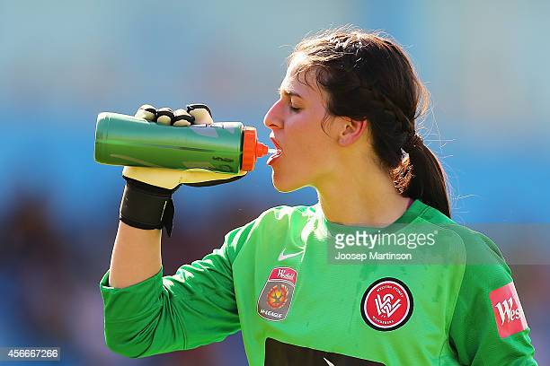 Shamiran Khamis of the Wanderers drinks during the round four WLeague match between Western Sydney and Perth Glory at Marconi Stadium on October 5...