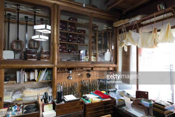 shamisen shop in japan - vangen imagens e fotografias de stock