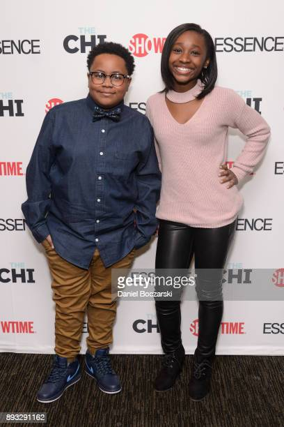 Shamon Brown Jr and Mariah Gordon attend an advance screening of Showtime's 'The Chi' on Chicago's South Side at SMG Chatham on December 14 2017 in...