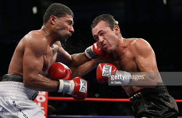 Shamone Alvarez punches Jose Luis Cruz during their NABO Welterweight Championship fight at Boardwalk Hall June 2 2007 in Atlantic City New Jersey