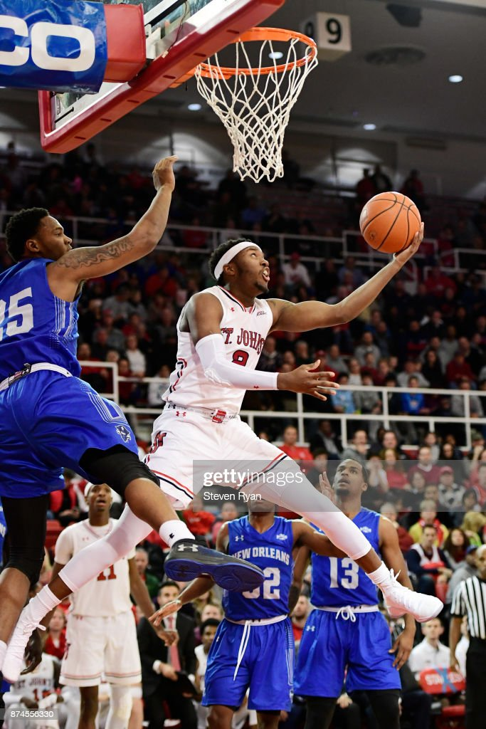 Shamorie Ponds #2 of St. John's in action against New Orleans during an NCAA basketball game at Carnesecca Arena on November 10, 2017 in the Jamaica neighborhood of the Queens borough of New York City.