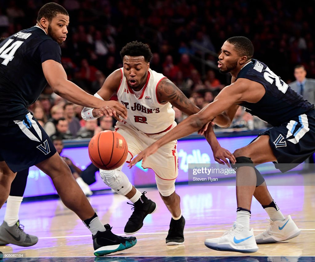 Shamorie Ponds #2 of the St. John's Red Storm in action against the Villanova Wildcats during an NCAA men's basketball game at Madison Square Garden on January 13, 2018 in New York City.