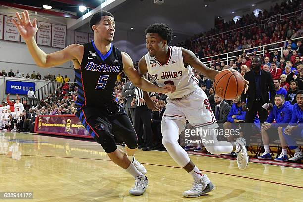 Shamorie Ponds of the St John's Red Storm is defended by Billy Garrett Jr #5 of the DePaul Blue Demons at Carnesecca Arena on January 16 2017 in New...