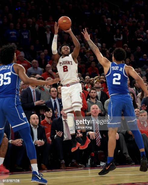 Shamorie Ponds of the St John's Red Storm shoots a threepoint shot with 40 seconds remaining in their game to increase their lead to 7773 against the...