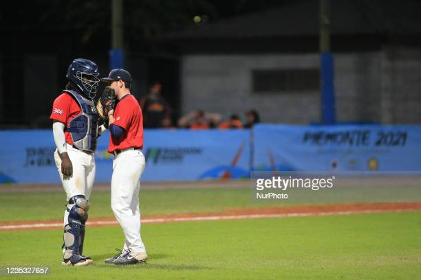 Shamoy Christopher dispute about game tactics with Fred Mosier during the Baseball match Baseball European Championship 2021 - Quarter finals -...
