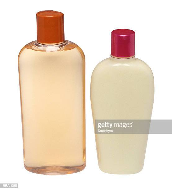 Shampoo and conditioner, in bottles