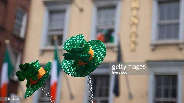 shamrock and leprechaun hats - leprechaun stock pictures, royalty-free photos & images