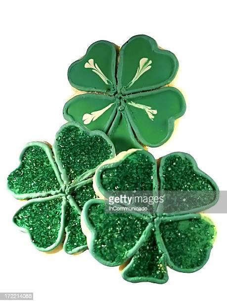 shamrock cookies - 4 leaf clover stock-fotos und bilder