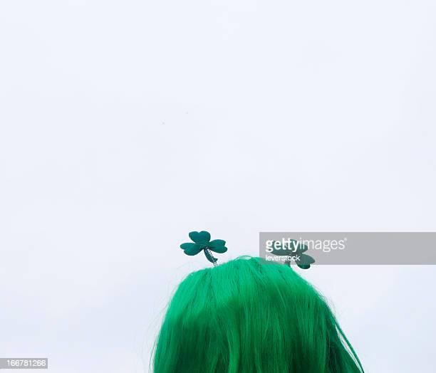 shamrock head, green hair