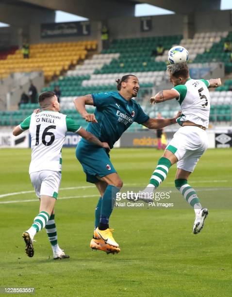 Shamrock Rovers' Gary O'Neill, AC Milan's Zlatan Ibrahimovic and Shamrock Rovers' Lee Grace in action during the UEFA Europa League, Second...