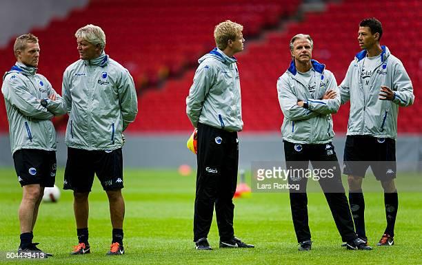 FCK Shamrock Rovers training in Parken Stadium FC Copenhagen coaching staff fr left Fysisk Traener / Physical Coach Anders Storskov FCK FC Copenhagen...