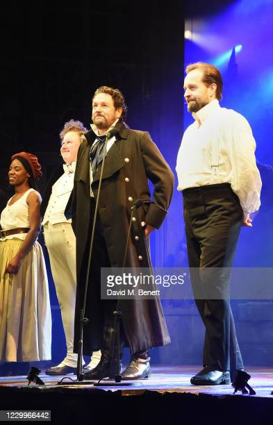 """Shan Ako, Matt Lucas, Michael Ball and Alfie Boe bow at the curtain call during the return of """"Les Miserables: The Staged Concert"""" to London's West..."""