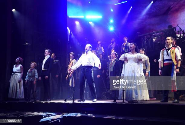 """Shan Ako, Rob Houchen, Alfie Boe, Amara Okereke and Bradley Jaden bow at the curtain call during the return of """"Les Miserables: The Staged Concert""""..."""