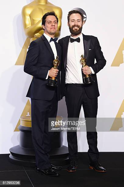 Shan Christopher Ogilvie and Benjamin Cleary, winners of Best Live Action Short Film for 'Stutterer,' pose in the press room during the 88th Annual...